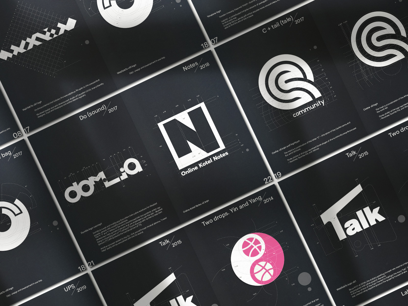 Original monograms, logos, logotypes, brandmarks, equipped with grid system
