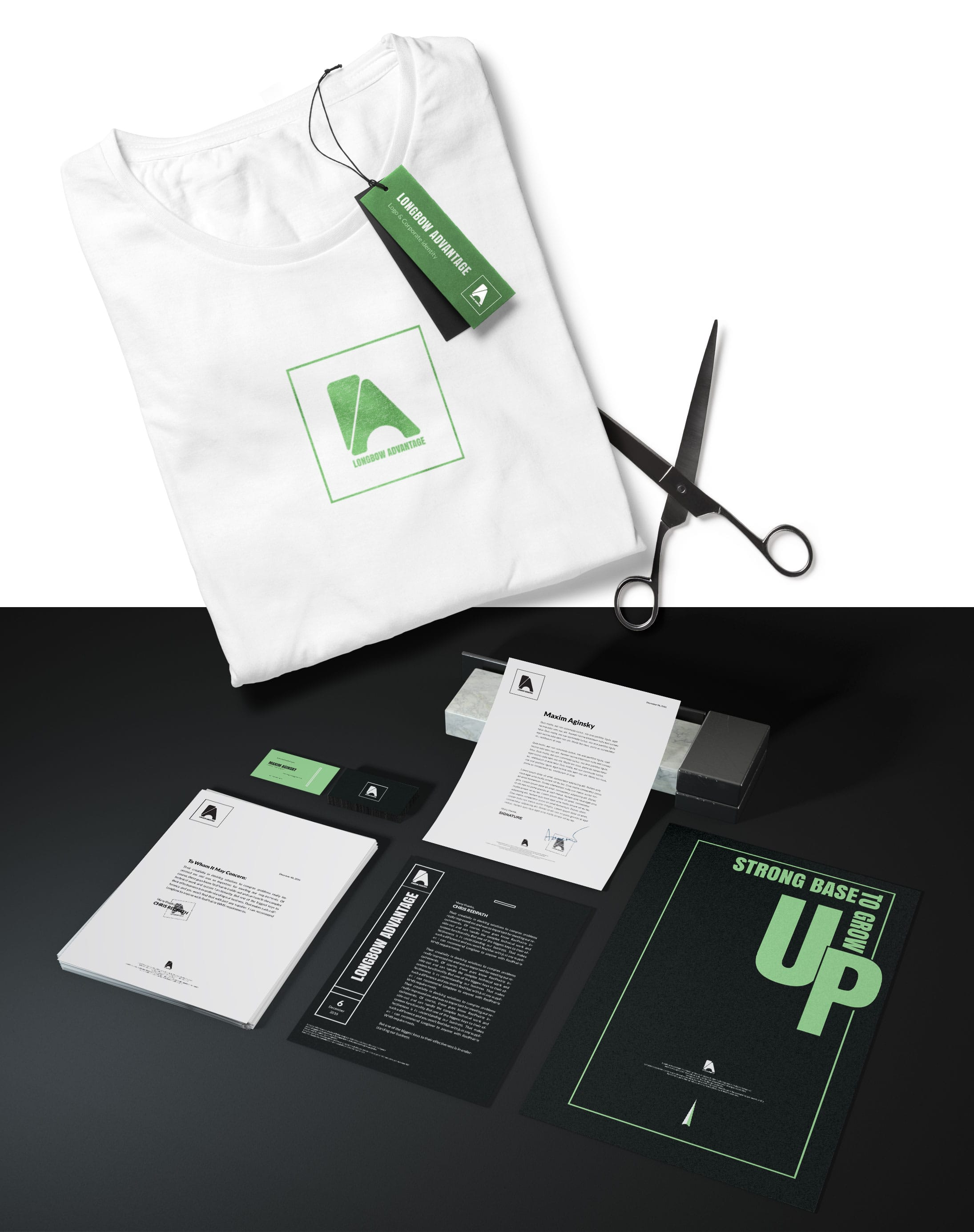 Logo and Corporate identity for Longbow Advantage Montreal creator of Rebus Analytics Platform