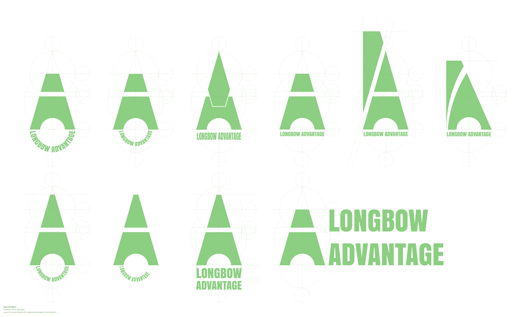 Longbow Advantage logo in progress examples