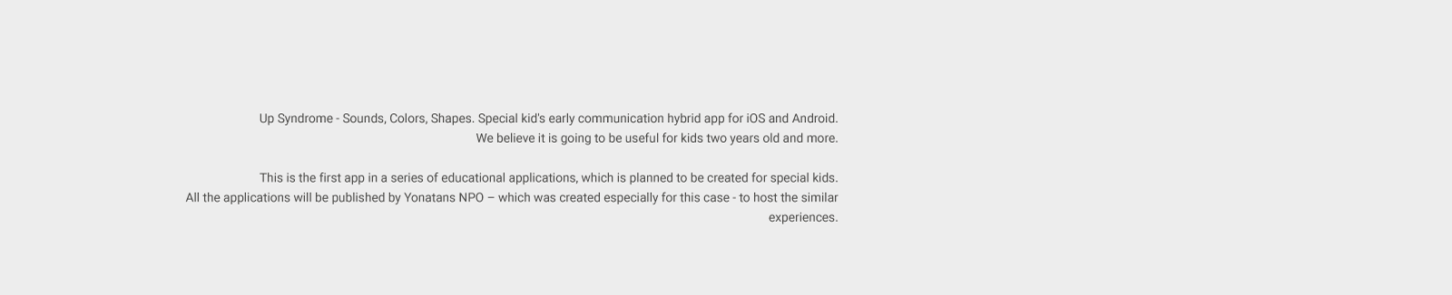 Up Syndrome — Special kids early communication app